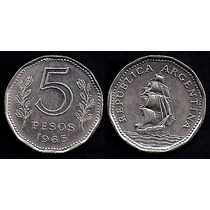 Moneda Argentina 5 Pesos 1965 Fragata Colección! Km# 59