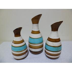Trio Vasos Em Cerâmica - Az/marrom/cru