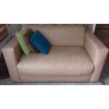 Sofa Dos Puestos, Color Arena Bicolor En Bipiel