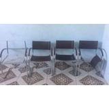 4 Cadeiras Carraro 320/delta Couro Natural Marrom P/reforma