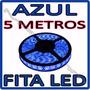 Fita Led Rolo 5m 300 Leds Prova D´agua + Fonte - ** Azul **