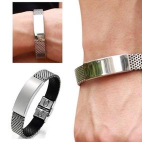Bracelete Masculino - Aço Inoxidável E Couro Preto