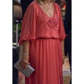 Vestido De Fiesta / Madrina - Gasa Color Coral