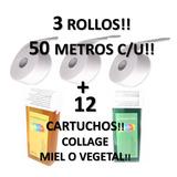 12 Cartuchos Rolon Collage + 3 Rollo 50mts Banda Depilatoria