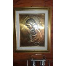 Bajo Relieve Bronce Antiguo De La Virgen Y El Niño Firmado