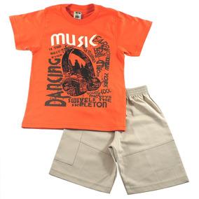 3 Conjuntos Masculino Inf. Verão Camiseta E Bermuda Sarja