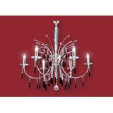 Colgante Decorativo Araña Reina Cromo 6 Luces Ronda
