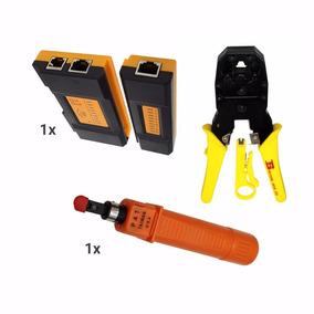 Kit De Pinzas Armado Redes Ponchadora +tester +pinza Impacto