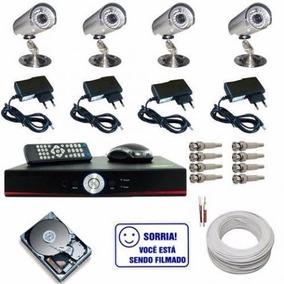Kit Monitoramento Dvr 4 Canais + 4 Camera Infra + Hd + Cabo
