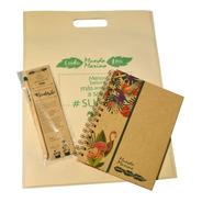 Kit Eco- Cuaderno Eco-lápiz Plantable-bolsa Eco Mundo Marino
