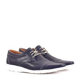 Zapatos De Vestir En Cuero Azul De Hombre Batistella