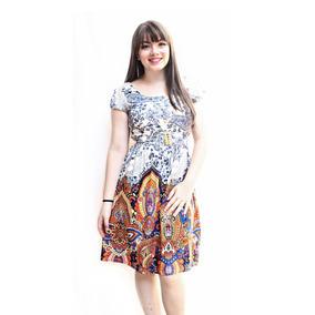 Vestidos Moda Evangélica Evasê Floral Fio Torcido 015x000