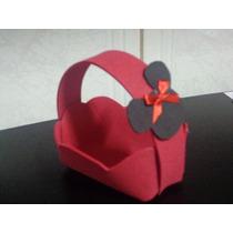 Kit Com 12 Cestinhas Em Eva Minie Rosa Mickey Vermelho