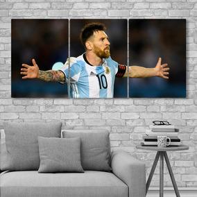 Cuadros Messi Leo Lionel Modernos Tripticos 132x62cms