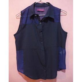 Camisa De Gasa Y Viscosa Azul Sin Mangas De Mujer