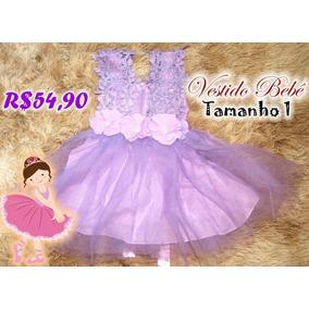Lindo Vestido Menina Lilás Festa Bebê Tamanho 1