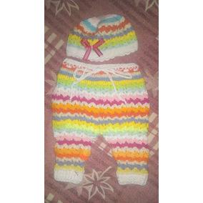 Conjunto Pantalón Bombache Y Gorro Tejido Crochet Bebe Niña