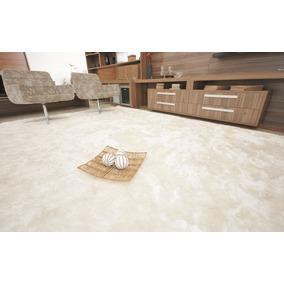 Tapete Sala Quarto Shaggy Fio De Seda Branco Pérola 50x1,50