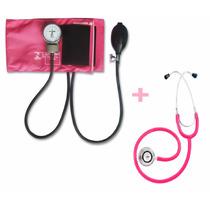Kit Esfigmomanômetro + Estetoscopio Duplo Rosa Pa Med