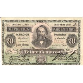 Emision Lange 20 Centavos 1884 Sin Circular Pick 3 Raro