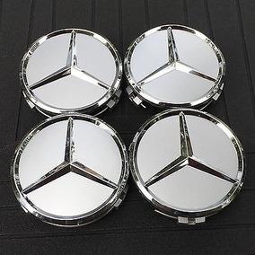 4x Centro Tapón De Rin Mercedes Benz Color Plata Envío Grati
