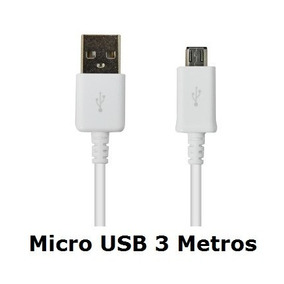 Cabo Micro Usb Grande 3m P/ Controle Xbox One Conexão Pc