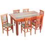 Conjunto Mesa Jantar 1,5m 6 Cadeiras Mad. Demolição Pátina
