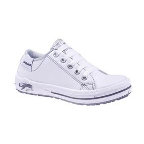 Zapatillas Jaguar Cordones Eco-cuero Blancas Art 410. 35/40