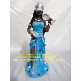 Imagem Orixa Iemanja Africa Rainha Mar Estatua Gesso 24cm
