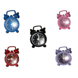 Kit Presentes 20 Mini Relógios Despertador Lembrança Gliter