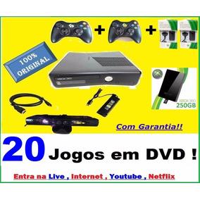 Xbox 360 Hd 250gb 2 Controles S/fio Kit Bateria Kinect Live