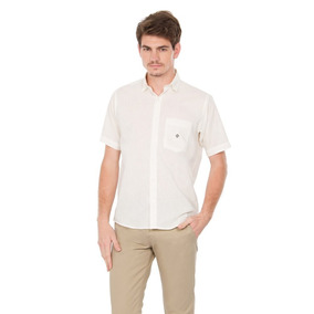 Camisa Linho Misto Masculina Tradicional F1464a Creme