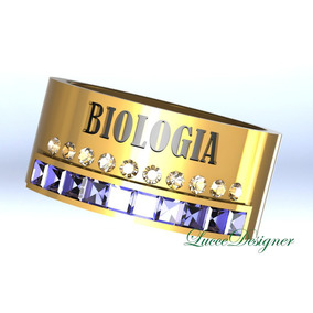 Anel Formatura De Biologia De Ouro 18 K