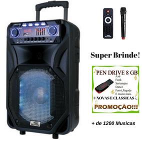 Caixa De Som Amplificada Bluetooth 2000w Bat 2 Microfones