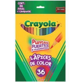 Caja 36 Lapices Colores Largos / Sacapuntas Crayola