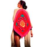 Poncho Lana Con Flecos Tejido Crochet De Mujer Invierno