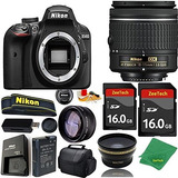 Nikon D3400 Dslr - 18-55mm Af-p 2pcs 16 Gb De Memoria Gran A