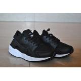 Kp3 Zapatos Nike Air Huarache Negro / Blanco Para Niños