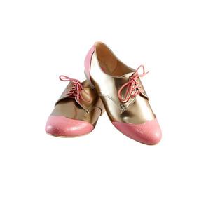 Zapatos Oxford De Agujeta, Rosa Con Dorado, Estilo Japonesa