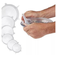 Tapas De Silicona Transparentes Reutilizables X 6 Unidades