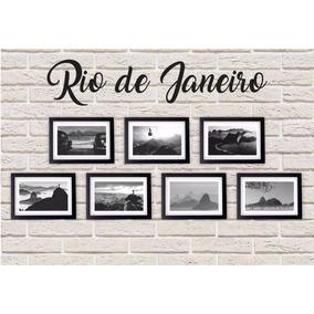 Kit 7 Quadros Rj Preto & Branco Rio De Janeiro + Moldura