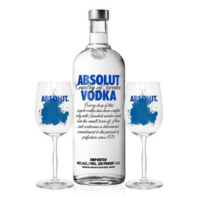 Vodka Absolut Original 1,5l + 2 Taças De Vidro