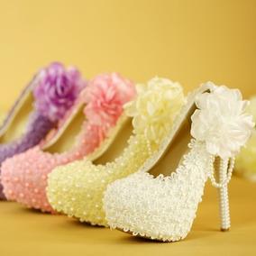 Sapato Decorado Scarpin Noiva Festa Formatura Pérola Guipir