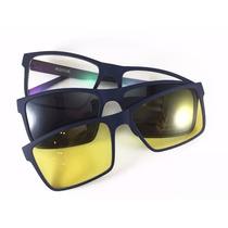 Armação Masculina Para Óculos Grau - Clip On De Sol - Lk040