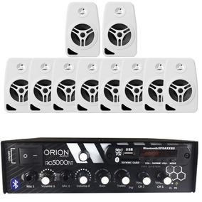 Kit Som Ambiente 300w Bluetooth + 10 Caixas Parede Brancas