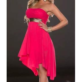 Vestido De Chifon Color Rosa Pink Talle M Sería 40 A 42