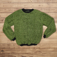 Buzo Sweater De Pelo De Mono Dama Color Verde/negro Talla Uv