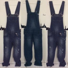 Macacão Jardineira Masculina Jeans Fechado Atrás 38