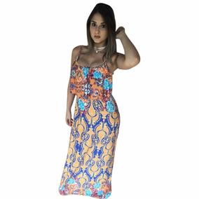 Vestido Feminino Longo Alcinha Com Babado