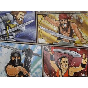 Kit Com 04 Espadas Ninja Medieval Samurai Pirata 50 Cm
